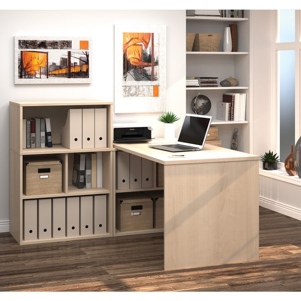 i3 by Bestar L shaped Desk with Small Hutch Free