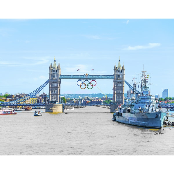 Stewart Parr 'London Bridge with Olympic Rings' Unframed Photo Print