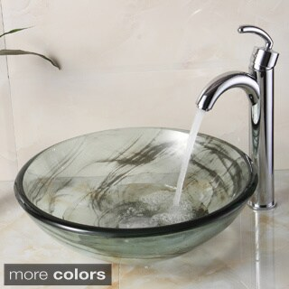 Elite New Tempered Bathroom Black Swirl Glass Vessel Sink With Faucet Combo