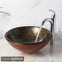 Elite Hand-painted Tempered Bathroom Glass Vessel Sink and Faucet Combo