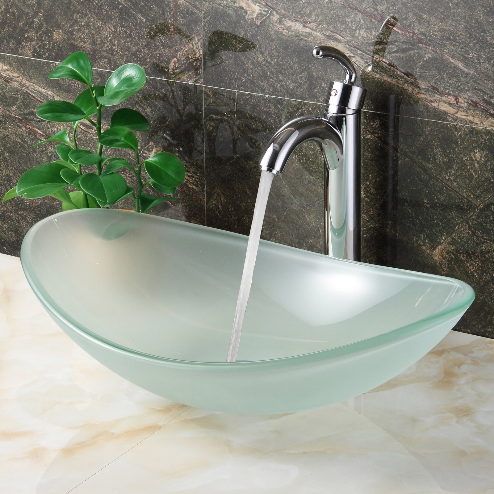Elite Oval Shape Frosted Tempered Bathroom Glass Vessel Sink And Faucet Combo Overstock 9751972