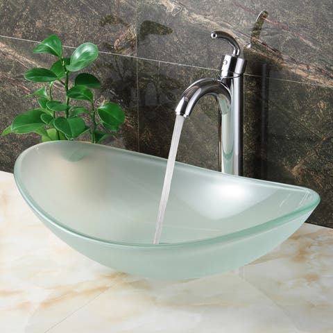 Elite Oval-shape Frosted Tempered Bathroom Glass Vessel Sink and Faucet Combo