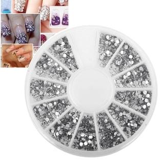 Zodaca 1200-piece 1.5mm 3D Manicure Nail Art Tips Crystal Gem Set Silver