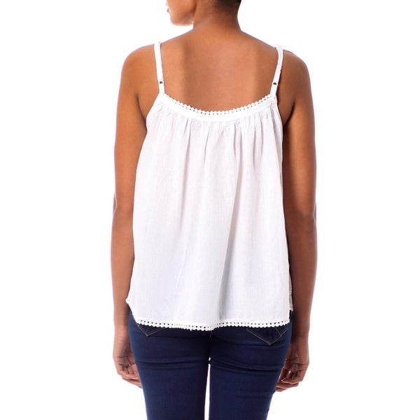 Handmade Cotton 'White Chrysanthemums' Camisole Top (India)
