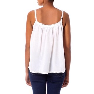 Handcrafted Cotton 'White Chrysanthemums' Camisole Top (India) (3 options available)