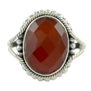 Handmade Sterling Silver Sun Afire Red Carnelian Ring (India)