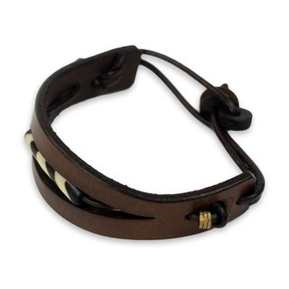 Men's Leather Bone 'Breaking Ground In Brown' Bracelet (Ghana)