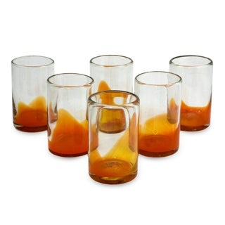 Handmade Set of 6 Blown Glass 'Orange Splash' Juice Glasses (Mexico)