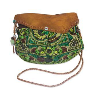 Handmade Leather Accent 'Green Mandarin Smile' Shoulder Bag (Thailand)