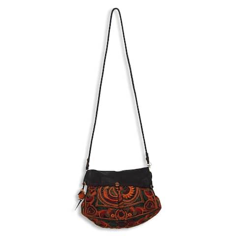 Leather Accent Embroidered 'Mandarin Smile' Shoulder Bag (Thailand)