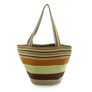 Handcrafted Cotton 'Mountain Forest' Tote Handbag (Guatemala)