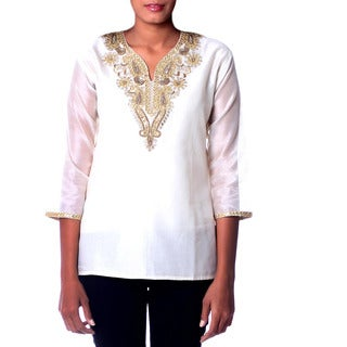 Handmade Novica Women's Beaded Cotton Silk 'Morning Princess' Tunic (India)