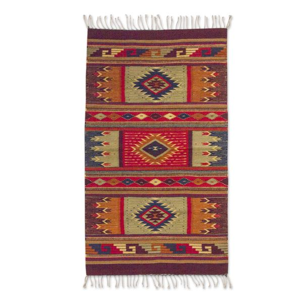 Mexican Rug Images: Shop Handmade Mexican 'Prairie Stars' Zapotec Wool Rug (2