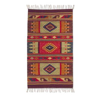 Mexican Hand-crafted 'Prairie Stars' Zapotec Wool Rug (2'6 x 5')