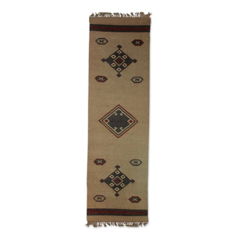 Handmade 'Desert Dawn' Brown Grey Jute Dhurrie Rug (2'6 x 7'6) (India) - 2.5' x 8.25'