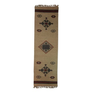 Shop Handmade Desert Dawn Brown Grey Jute Dhurrie Rug 2