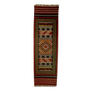 Handcrafted Jute 'Festive India' Dhurrie Rug (2'5x7'5) (India)