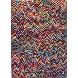 Hand-Hooked Callie Multi-Colored Chevron Cotton/ Polyester Rug (8' x 11')
