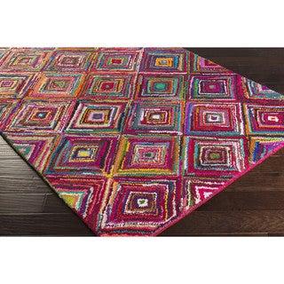 Hand-Hooked Jillian Geometric Multi-Colored Cotton/ Polyester Rug (8' x 11')