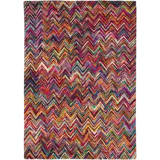 Hand-Hooked Callie Multi-Colored Chevron Cotton/ Polyester Rug (9' x 13')