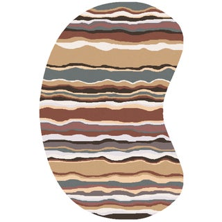 Hand-tufted Jalen Striped Wool Area Rug (6' x 9' Kidney)