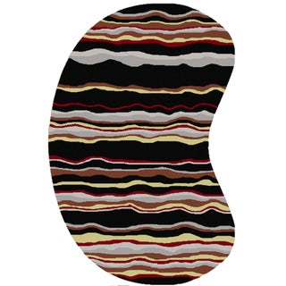 Hand-tufted Jalen Striped Wool Rug (6' x 9' Kidney)