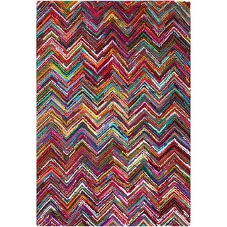 Hand-Hooked Callie Multi-Colored Chevron Cotton/ Polyester Rug (5'6 x 8'6)