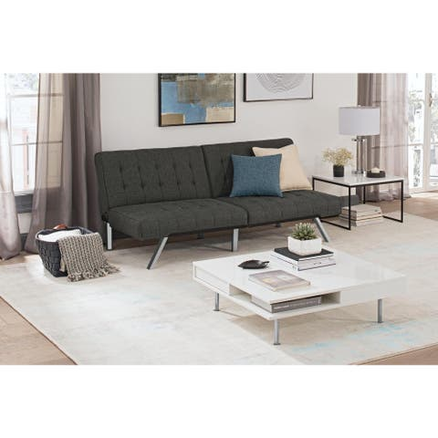 Carson Carrington Svejbaek Tufted Grey Linen Upholstery Convertible Futon