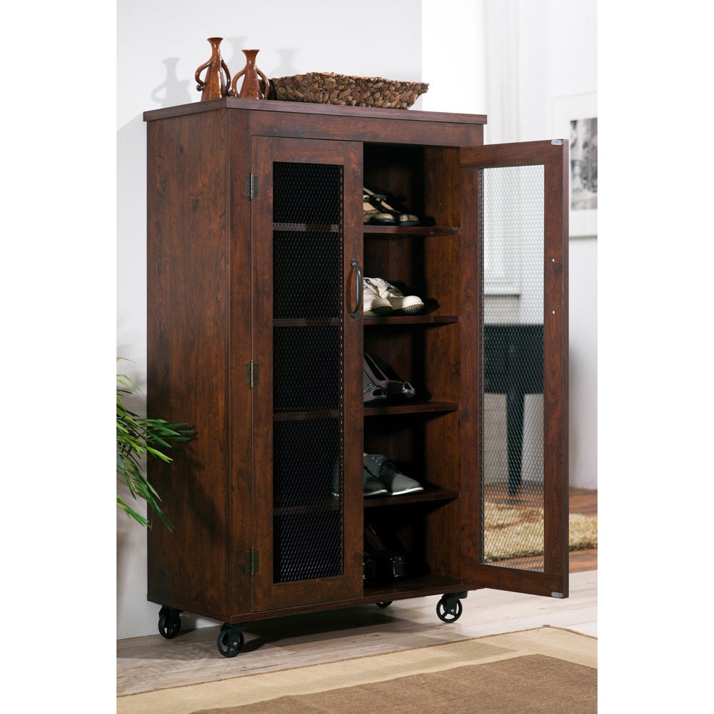 Pine Canopy Linaria Vintage Walnut Industrial 5-Shelf Cabinet  sc 1 st  Overstock.com & Shoe Cabinet Furniture   Shop our Best Home Goods Deals Online at ...