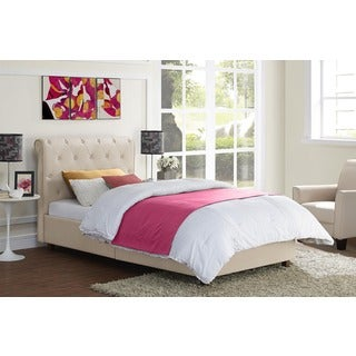 DHP Carmela Tan Linen Upholstered Twin Bed