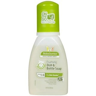 BabyGanics Dish Dazzler Foaming Dish and Bottle Soap Travel Size (Fragrance-free) 3.38-ounce
