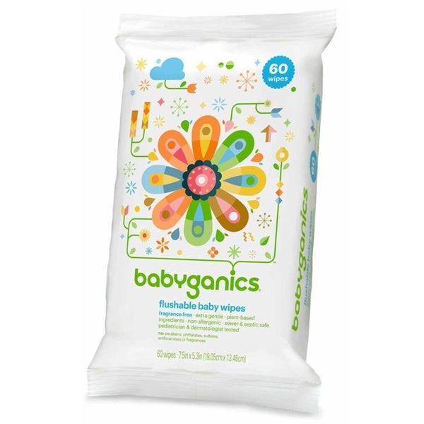 Shop Babyganics Flushable Wipes 60 Count Free Shipping
