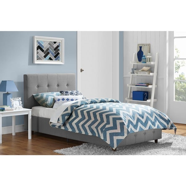 DHP Rose Grey Linen Upholstered Twin Bed Free Shipping