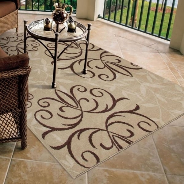 "Carolina Weavers Bermuda Collection Medallion Bushel Beige Area Rug - 3'10"" x 5'2"""