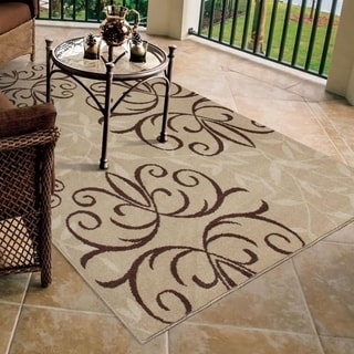 Indoor/ Outdoor Napa Collection Fleur Medallions Beige Indoor/ Outdoor Olefin Area Rug (3'10 x 5'5)