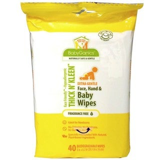 BabyGanics Thick n Kleen Baby Wipes 40 Count Newborn