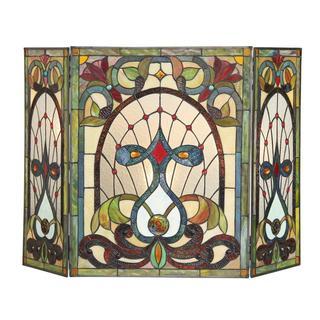 Chloe Tiffany-style Victorian Design Fireplace Screen - N/A