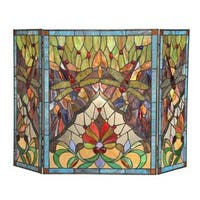 Tiffany Style Dragonfly Design Decorative Fireplace Screen - N/A