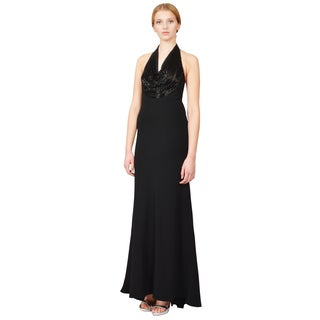 Carmen Marc Valvo Stunning Black Beaded Cowl Halter Evening Gown Dress