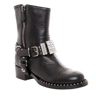 Shop Miu Miu Women S Black Leather Studded And Rhinestone
