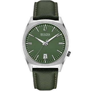Bulova Accutron II Men's 96B211 Quartz Green Leather Watch