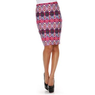 White Mark Women's Kaleidoscope Craze Print 'Victoria' Pencil Skirt