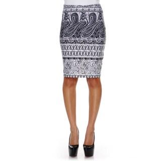 White Mark Women's Graystone Columns Paisley Print 'Victoria' Pencil Skirt