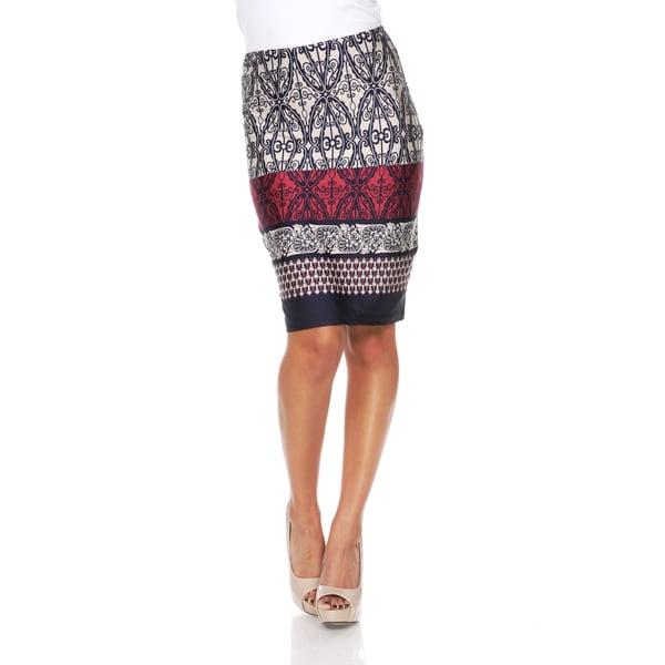 White Mark Women's Moroccan Print 'Victoria' Pencil Skirt