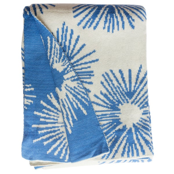 Handmade Lilydale Knit Light Blue and White Floral Cotton Throw(India). Opens flyout.