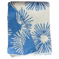 Handmade Lilydale Knit Light Blue and White Floral Cotton Throw Blanket (India)