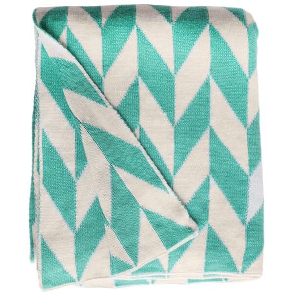 Handmade Monroe Knit Turquoise and White Cotton Throw Blanket (India)