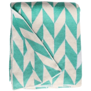 Monroe Knit Turquoise and White Cotton Throw Blanket (India)