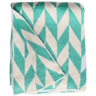 Handmade Monroe Knit Turquoise and White Cotton Throw Blanket (India)