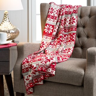 Handmade Snowflake Knit Multicolor/ Red Nordic Pattern Cotton Throw (India)